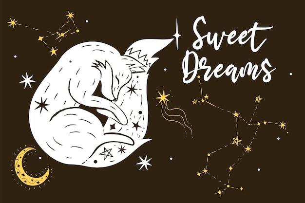 Volpe addormentata, stelle e la scritta sogni d'oro.