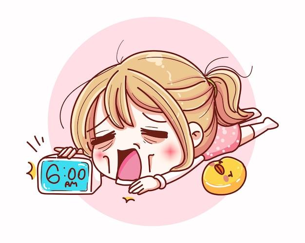 La ragazza addormentata si sveglia la mattina e il design dei personaggi dei cartoni animati.