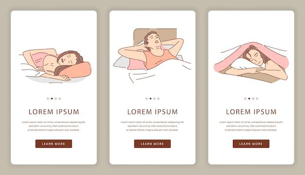 Schermate dell'app mobile per dormire persone. correzione del sonno, modello di sito web di sogni d'oro.