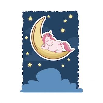 Dormire unicorno sopra la luna con le stelle nube di notte