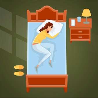 Illustrazione della giovane donna addormentata a casa.