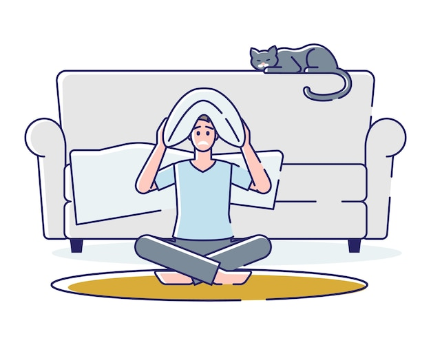 Uomo insonne che si arrabbia cartoon maschio sedersi sul pavimento con cuscino sulla testa