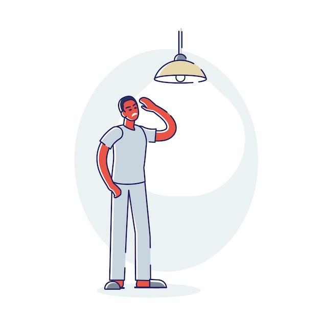Uomo insonne che soffre di insonnia