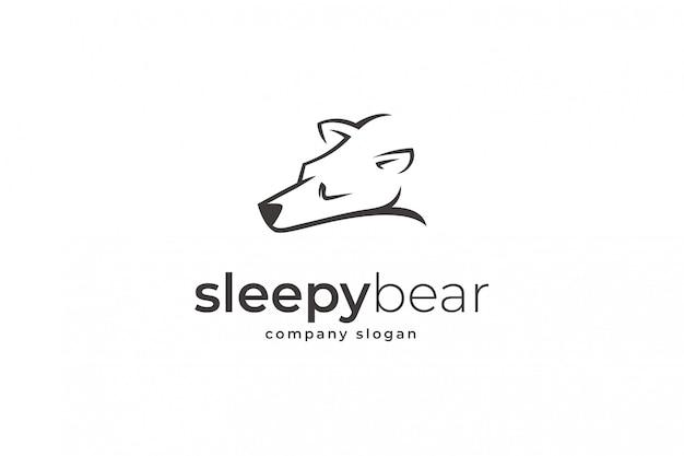 Modello di logo orso assonnato