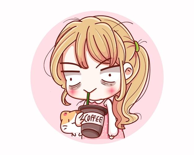 Ragazza sonnolenta che beve caffè e disegno del personaggio dei cartoni animati.