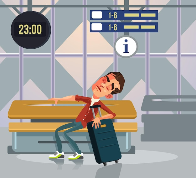 Carattere sonnolento dell'uomo turistico che dorme rilassante e in attesa di trasporto. illustrazione di cartone animato piatto