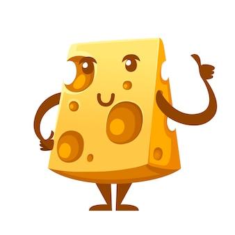 Fetta di formaggio. mascotte sorridente dell'alimento. cartoon character design. illustrazione piatta isolati su sfondo bianco.