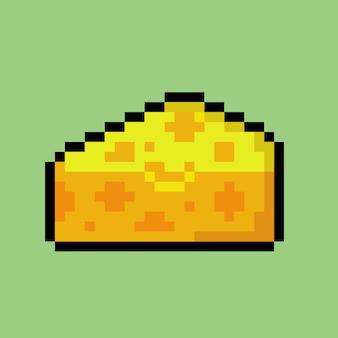 Fetta di formaggio con stile pixel art