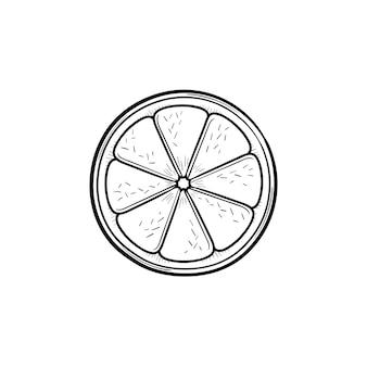 Fetta di limone icona di doodle di contorni disegnati a mano. illustrazione di schizzo di vettore del limone per stampa, web, mobile e infografica isolato su priorità bassa bianca.