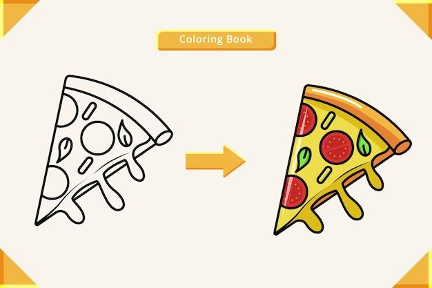 Libro da colorare cartone animato trancio di pizza
