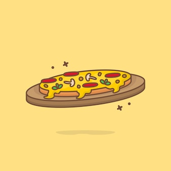 Fetta di pizza fusa fumetto illustrazione. concetto dell'icona di fast food isolato. stile cartone animato piatto.