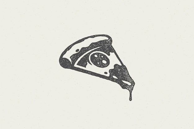 Fetta di sagoma di pizza con effetto timbro disegnato a mano pomodoro e formaggio