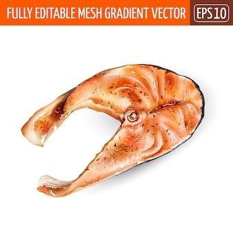 Fetta di salmone pesce rosso su sfondo bianco.