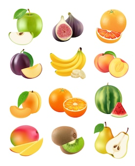 Frutta a fette. cibo vegetariano agricoltura oggetti prugna arancia banana pera kiwi albicocca mela arancia realistica