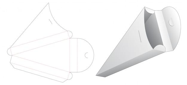 Modello fustellato della scatola di imballaggio della pizza affettata