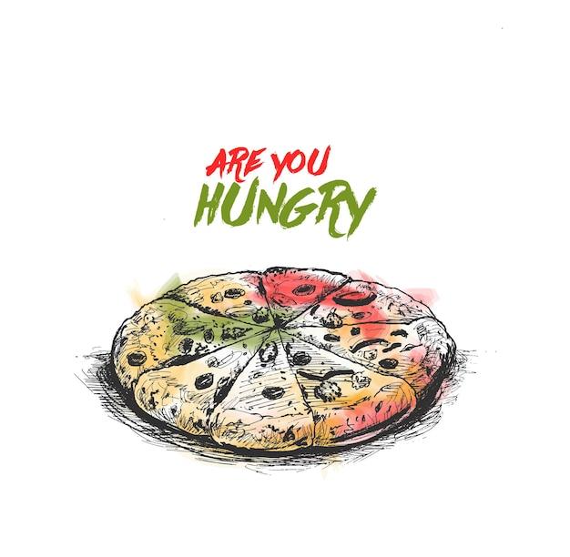 Fette di pizza ai peperoni illustrazione vettoriale di schizzo disegnato a mano