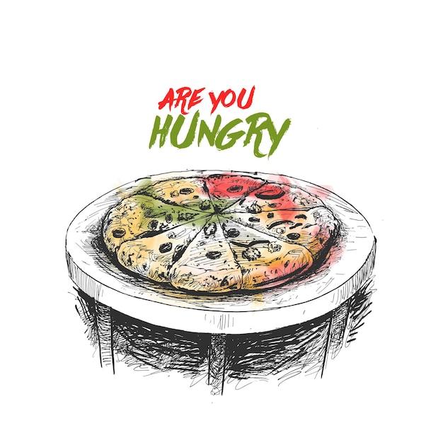 Fette di pizza ai peperoni sul tavolo illustrazione vettoriale di schizzo disegnato a mano