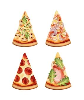 Fette di pizza con quattro varianti di ripieni isolati su bianco
