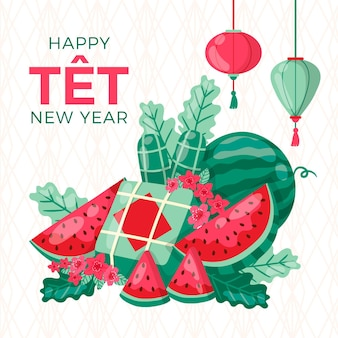 Fette di anguria felice anno nuovo vietnamita 2021