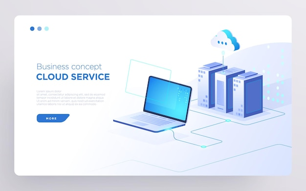 Pagina dell'eroe diapositiva o banner della tecnologia digitale concetto di business del servizio cloud vettore isometrico