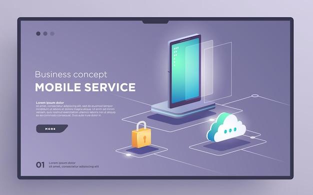 Pagina dell'eroe diapositiva o banner della tecnologia digitale concetto aziendale di servizi mobili vettore isometrico