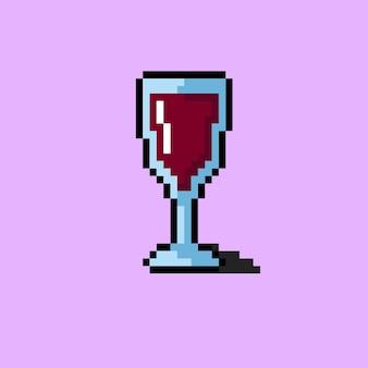 Bicchiere da vino di dimensioni ridotte con stile pixel art