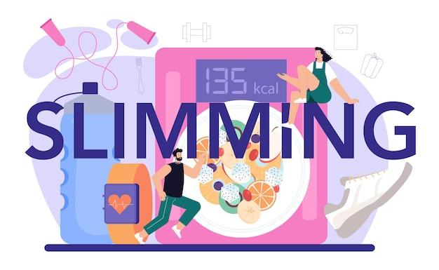 Intestazione tipografica dimagrante. persona che perde peso con esercizi di fitness e cibo sano. idea di dieta e attività sportiva quotidiana. illustrazione vettoriale in stile cartone animato