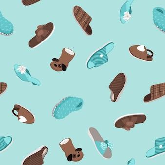 Modello senza cuciture di pantofole. calzature per la casa disegnate a mano, scarpe di pelliccia e sandali accoglienti, illustrazione vettoriale di un set di scarpe comode e carine