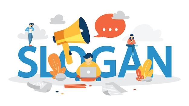 Concetto di slogan. unico di un'azienda. riconoscimento del marchio come parte della strategia di marketing. illustrazione