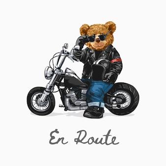 Lo slogan con la bambola dell'orso che guida l'illustrazione dell'elicottero in rotta è una parola francese che significa sulla strada
