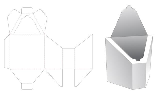 Scatola inclinata con modello fustellato con cerniera superiore