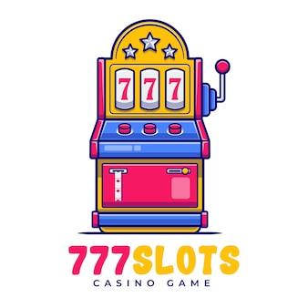 Modello di logo del fumetto di carnevale di slot machine