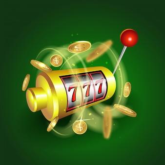 Concetto 777 di gioco della posta fortunati delle slot machine. gioco del casinò. slot machine con monete di denaro.