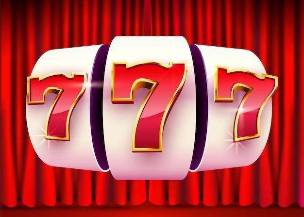 La slot machine vince il jackpot sullo sfondo della tenda. 777 casinò con grandi vincite