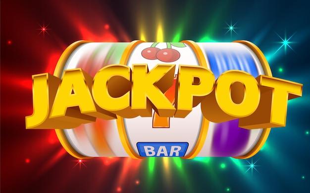 La slot machine vince il jackpot. bandiera del casinò online. 777