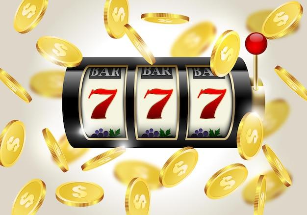 Slot machine con sette fortunati e monete d'oro che cadono
