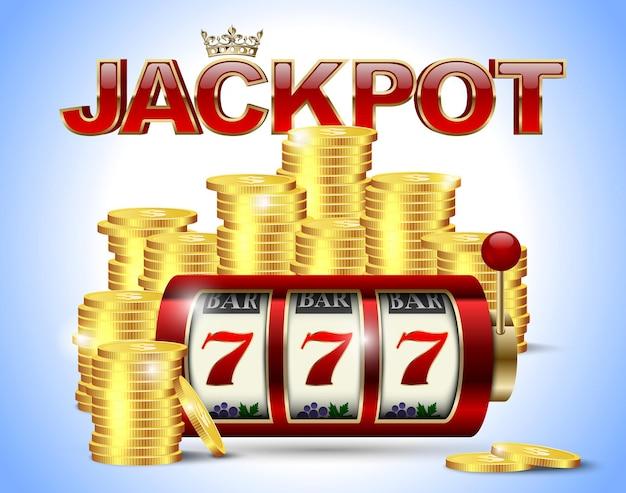 Slot machine con sette fortunati, monete d'oro e testo jackpot lucido rosso su sfondo blu.
