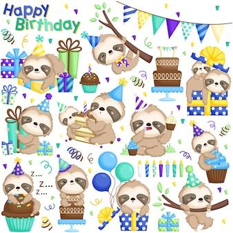 Insieme di vettore di compleanno di bradipo