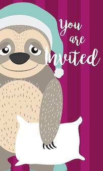 Scheda dell'invito del fumetto di bradipo per bambini