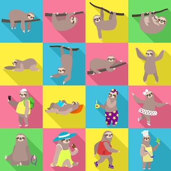 Set di caratteri di bradipo. insieme piano del vettore di bradipo