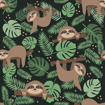 Modello di bradipo su uno sfondo di foglie tropicali su uno sfondo verde, illustrazione vettoriale a colori, tessile, stampa, carta da parati