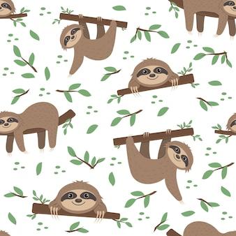 Modello di bradipo su uno sfondo di foglie tropicali su sfondo bianco, illustrazione vettoriale a colori, tessile, stampa, carta da parati