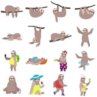 Set di bradipo, stile piatto