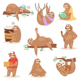 Carattere animale bradipo bradipo giocando o dormendo in set di illustrazione di pigrizia di pigri bradipi leggendo il libro o mangiando gelato pigramente su sfondo bianco
