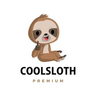 Bradipo pollice in alto mascotte carattere icona logo illustrazione