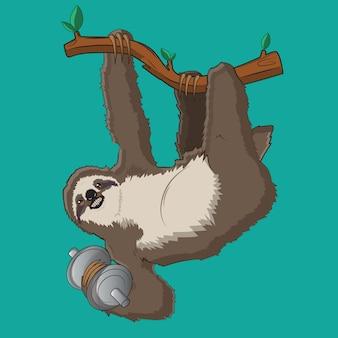 Illustrazione vettoriale bradipo con sfondo blu
