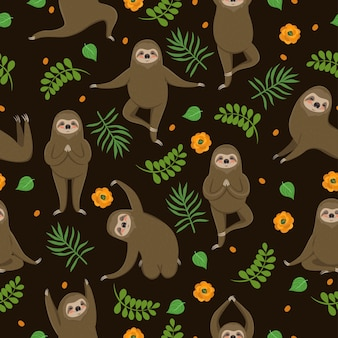 I bradipi fanno yoga. seamless pattern.