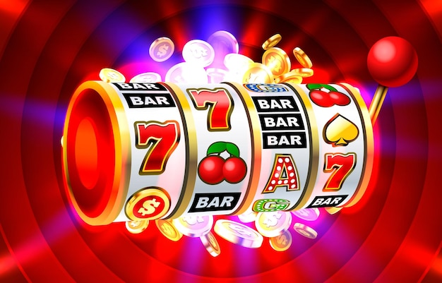 Slot banner monete d'oro jackpot casino d cover slot machine vector