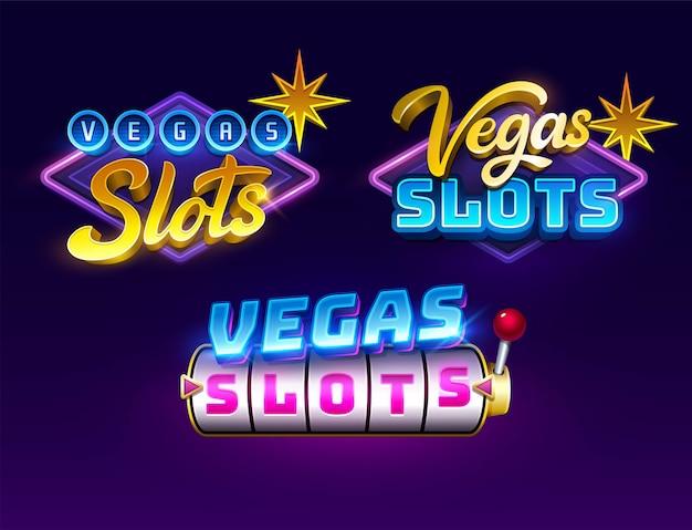 Gioco di slot titolo del casinò logo gioco d'azzardo effetto testo
