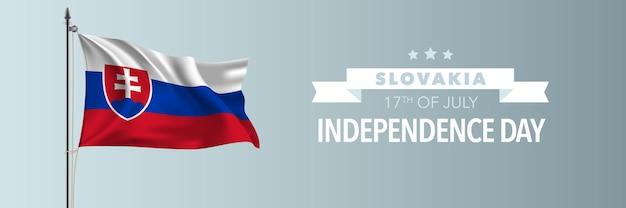 Bandiera di felice giorno dell'indipendenza della slovacchia. festa nazionale slovacca 17 luglio design con sventolando la bandiera